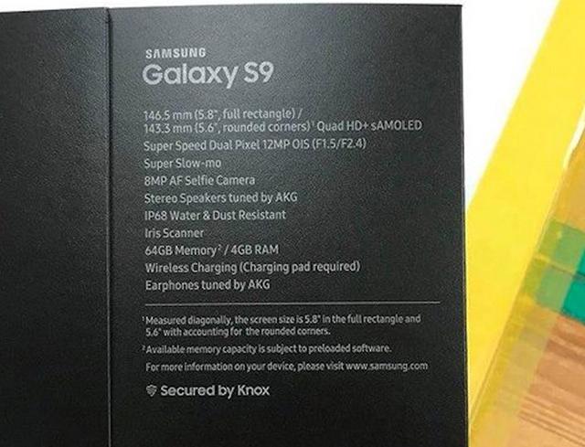 Samsung Galaxy S9 specifikacije